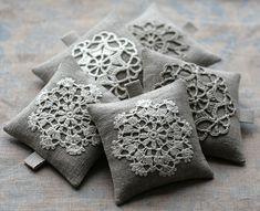 Doilies on a Sachet Crochet Cushions, Crochet Motif, Crochet Doilies, Pin Cushions, Crochet Patterns, Lace Doilies, Lavender Bags, Lavender Sachets, Craft Ideas
