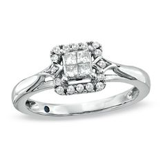 Cherished Promise Collection 1/4 CT. T.W. Princess-Cut Quad Diamond Promise Ring in 10K White Gold
