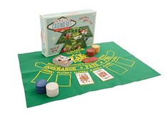 Genuine casino set includes poker and blackjack mat, 1 set of playing cards and gambling chips. Poker hand value card chart included on the back of the box plus card game instructi