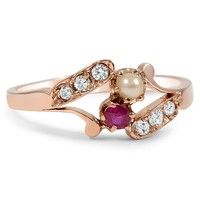 The Sedona Ring ~ This whimsical Victorian ring showcases a natural ruby and cultured pearl framed by six brilliant diamond accents. The romantic and dainty design make this ring a timeless possession.