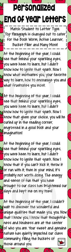 Beautiful End of Year Letter with variations for that personal touch. Click here to see complete list of learners ($)