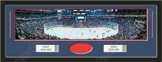 One framed large Columbus Blue Jackets stadium panoramic with openings for one or two ticket stubs* and one or two 4 x 6 inch personal photos**, double matted in team colors to 39 x 13.5 in.  The lines show the bottom mat color. $179.99   @ ArtandMore.com