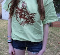 Fawn TShirt Chocolate Brown on Pistachio  Sizes by gearheadthreads, $16.00