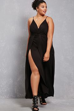 Forever 21+ - A knit jumpsuit featuring a twist-front design, plunging neckline, cami straps, and palazzo legs with side slits.<p>- This is an independent brand and not a Forever 21 branded item.</p>