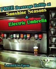 Disney World Tip: Score FREE Beverage Refills at Sunshine Seasons and Electric Umbrella