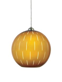 "Small slits in this glass pendant allow additional light to shine through.  Oggetti Firefly 5?1/2""-diameter pendant in mocha/white, $238, atgstores.com"