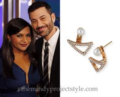 Mindy wore these pearl and crystal ear jackets on Jimmy Kimmel Live last night!