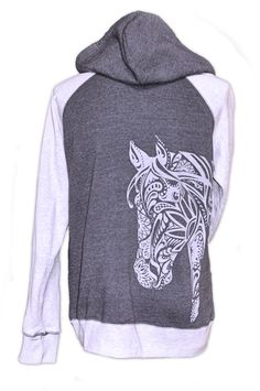 Premium Quality Horse Gifts for Women The BOHO 2 tone Horse Hoodie by Live for the Ride apparel is <b>VINTAGE SOFT 100% Cotton <b> that comes to you <b>PRE-SHRUNK<b> and <b>MACHINE WASHABLE<b> *<i>on