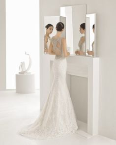 Mermaid-style lace dress with V-neckline and jewelled back with frosted beading, in nude and natural.