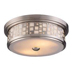 Ceiling light for bathroom. No more UFO!  Portfolio�13-in W Satin Nickel Wall Flush Mount