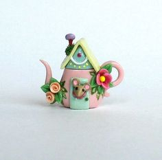 Miniature Wee Mouse House Teapot OOAK by C. Rohal