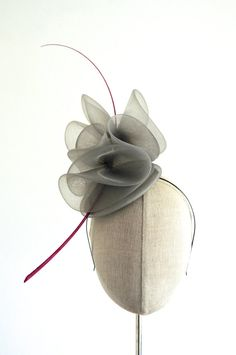 Grey Crin Cocktail Hat Racing Mini Hat Wedding by MaynardMillinery