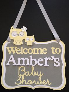 "RESERVED FOR MOURI Neutral Yellow and Gray ""Oh Baby"" Baby Shower Owl Banner"