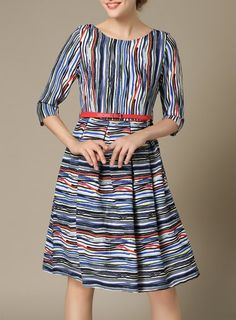1/2 Sleeve Belted Striped Floral Print Dress For Women