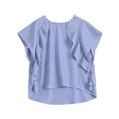 Dip Hem Ruffle Striped Blouse Blue (€21) ❤ liked on Polyvore featuring tops, blouses, striped blouse, blue striped blouse, frilly tops, flounce tops and flounce blouse