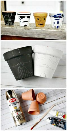 Need DIY garden projects and ideas to decorate your home outdoor? Find 101 DIY garden projects made with recycled materiel to upgrade your garden at no cost. Star Wars Birthday, Star Wars Party, Diy Garden Fence, Garden Pots, Regalos Star Wars, Decoracion Star Wars, Star Wars Painting, Star Wars Jewelry, Diy Garden Projects