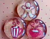 Glass Marble Pebble Magnets Gingerbread Man Cookie Hot Cocoa Cups Winter Tan Red  White Holiday Christmas Gift  Xmas Fridge Magnets Set of 3