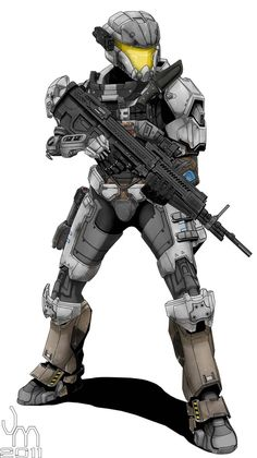 Female SPARTAN II soldier armed with the M392 DMR, M6G PDWS, and the M319 Individual Grenade Launcher. She's wearing a Commando MJOLNIR PAA/K variant helmet, double Mark V shoulders, and MJOLNIR UA...