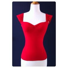 The Cherrybomb Blouse, Red Rockabilly Capped Sleeve Top, Sexy Off The Shoulder PIN UP Top, Misses Sizes xs, small, medium, large and xl