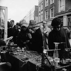 A stall at Portobello Road Market, Notting Hill London 1965