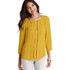 Petite Pleated Front 3/4 Sleeve Blouse. 100% Polyester  Imported  Machine Washable. NOW 30% OFF! ENTER CODE STYLEEVENT AT CHECKOUT. $49.50