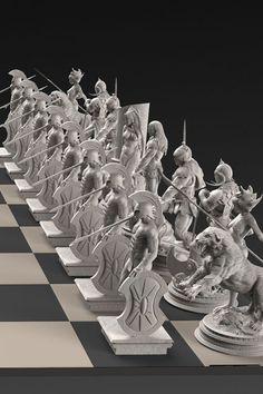 The Frank Frazetta 32-statue Solid Silver Chess Set