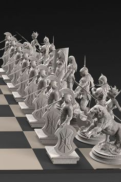 The Frank Frazetta 32-statue Solid Silver Chess Set