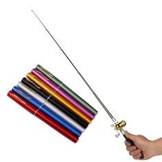 This amazing little fishing rod is compact, portable, and lightweight. it's very easy to use, too! Store it in your briefcase and fish on your lunch break! Pen Fishing Rod, Portable Fishing Rod, Fishing Kit, Fishing Videos, Fishing Humor, Kayak Fishing, Fishing Tackle, Fishing For Beginners, Fishing Photography