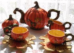 Fall Pumpkins/Leaves TEA SET (Hand-Made Ceramic): Teapot + Sugar Bowl (with lid) + Cream Pitcher + Cups (& Saucers)  ♥___________________________ Reposted by Dr. Veronica Lee, DNP (Depew/Buffalo, NY, US)