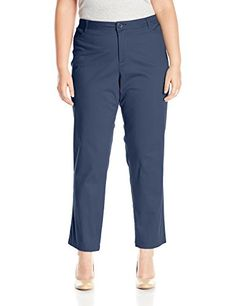 Riders by Lee Indigo Women's Plus-Size Straight Leg Casual Twill Pant, Dress Blues, 18W
