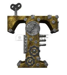 Steampunk letra t en ilustración de fondo blanco - 3d photo
