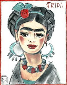 """""""FRIDA With BRAIDS"""" $150  Original Oil Painting on 8""""x10""""stretched canvas   ~ Sold to Terrie on Etsy print available on Etsy store"""