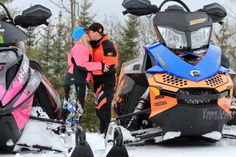 snowmobile engagement and wedding pictures