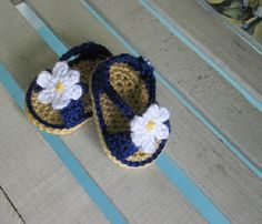 Shoes Baby Handmade Crochet Sandals Daisy Infant Kids - Navy Blue with Daisy on Etsy, $10.50