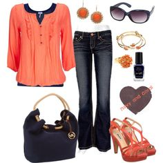 """""""Navy and Coral"""" by pamnken on Polyvore"""
