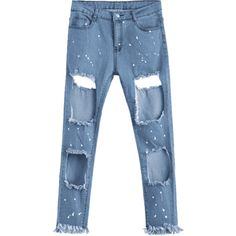 Zipper Fly Frayed Cut Out Jeans (29 NZD) ❤ liked on Polyvore featuring jeans, blue jeans, zipper jeans, zip jeans, zipper fly jeans and frayed zipper jeans