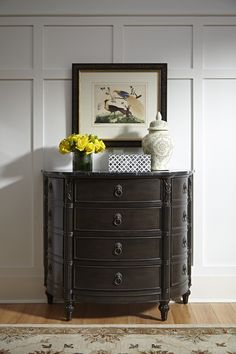 Powell Furniture Ellington Marble Top Demilune Console in Ebony Powell Furniture, Led Furniture, Black Marble, Marble Top, West Indies Style, Home Decor Store, Dresser As Nightstand, Storage Spaces, Drawers