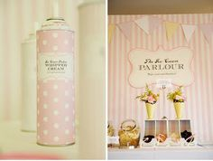 cute for an ice cream party - cover whipped cream can with patterned paper