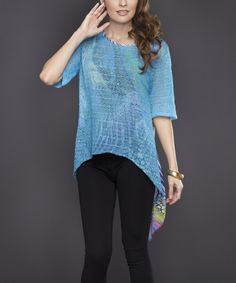 Look at this Blue Wide-Knit Retro Hi-Low Top on #zulily today!