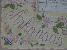 Arkansas state map + pink apple blossoms [handkerchief / scarf]