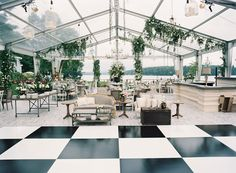 Black and white square checker dance floor clear tent wedding furniture food stations light bulbs Tent Reception, Wedding Reception, Wedding Backyard, Wedding Ideas, Reception Halls, Wedding Lounge, Greenhouse Wedding, Greenhouse Ideas, Reception Ideas