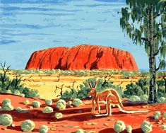 Acrylic Paint By Numbers Kit Canvas Red Kangaroo at Uluru Aboriginal Art Dot Painting, Artist Painting, Australia Tattoo, Red Kangaroo, Australia Landscape, Oil Painting Supplies, Landscape Illustration, Paint By Number, Art Projects