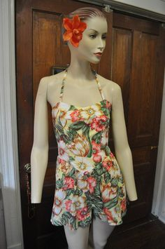 80s Does 40s vintage Play suit Bathing Beauty by glamtownvintage, $40.00