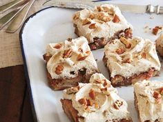 Bake this delicious apple cake using pecans and top it with browned butter frosting for a perfect fall dessert. Bake this delicious apple cake using pecans and top it with browned butter frosting for a perfect fall dessert. Apple Dessert Recipes, Fall Desserts, Apple Recipes, Just Desserts, Delicious Desserts, Scone Recipes, Top Recipes, Yummy Recipes, Yummy Food