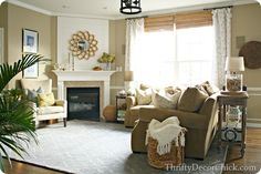 # A light blue # Homegoods rug in the family room! # taken from web # www. Home Living Room, Living Room Decor, Living Spaces, Cream And White Bedroom, Open Concept Great Room, Thrifty Decor Chick, Lexington Home, Furniture Arrangement, Beautiful Interiors