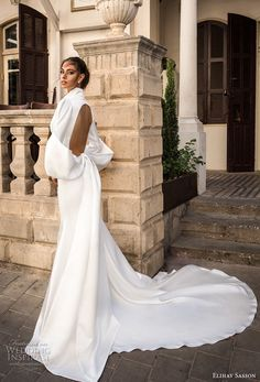elihav sasson 2018 capsule bridal long mutton sleeves queen anne plunging v neck simple clean modern sheath wedding dress keyhole back long train (15) sdv -- Elihav Sasson 2018 Royalty Girl Capsule Collection