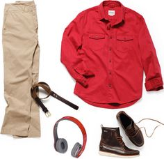 Bonobos Game Day Chinos ($78). Eastland Sherman1955 Boot ($225). Bonobos Turnbuckle Twill Shirt ($69). Ernest Alexander Wax-On, Wax-Off Belt ($90). Beats by Dr. Dre from Monster (Product) Red Edition Headphones ($200).