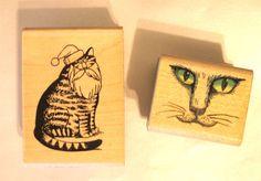 VINTAGE Signed KILBAN CAT RUBBER STAMP Santa Hat + CAT FACE Rare Crafts Scrapbook
