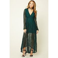 Forever21 Lace Maxi Dress ($28) ❤ liked on Polyvore featuring dresses, gowns, hunter green, lace maxi dress, white gown, bell sleeve dress, long sleeve evening dresses and long sleeve evening gowns