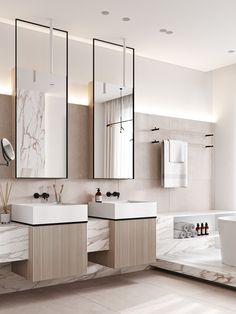 Bathroom Design Luxury, Modern Bathroom Decor, Cheap Beach Decor, Cheap Home Decor, Luxury Homes Interior, Home Interior Design, Spa Inspired Bathroom, Powder Room Design, Restroom Design
